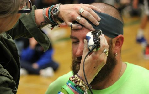 Band students contributed over $200 to shave the hair and eyebrows of director Mr. Williams.
