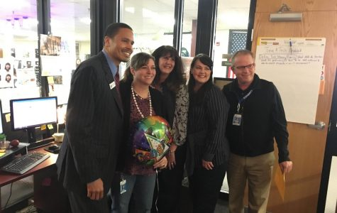 Suzi Schandoney was surprised by Superintendent Michael Thomas, NBCTs Nancy Shanklin and Camla Shultz, and Principal Kevin Gardner after achieving National Board Certification.