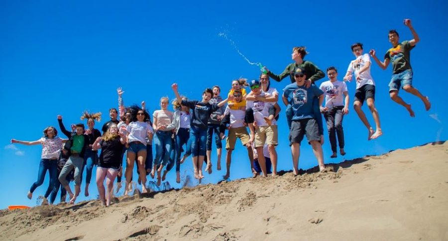 Students from the German Exchange Program having a blast at the Sand Dunes National Monument.
