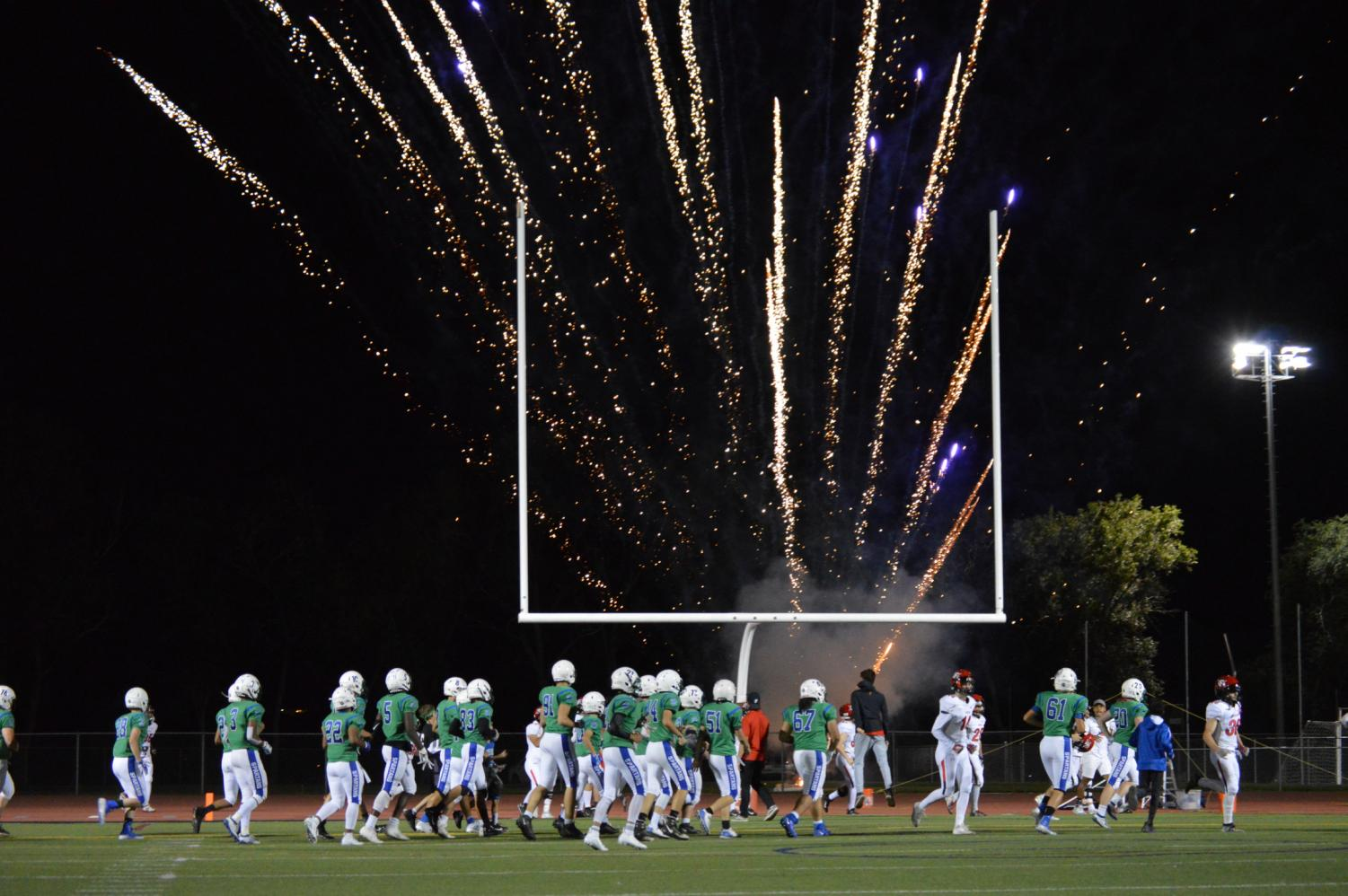 Fireworks pumped up the crowd at the September 20th football game against Fairview.