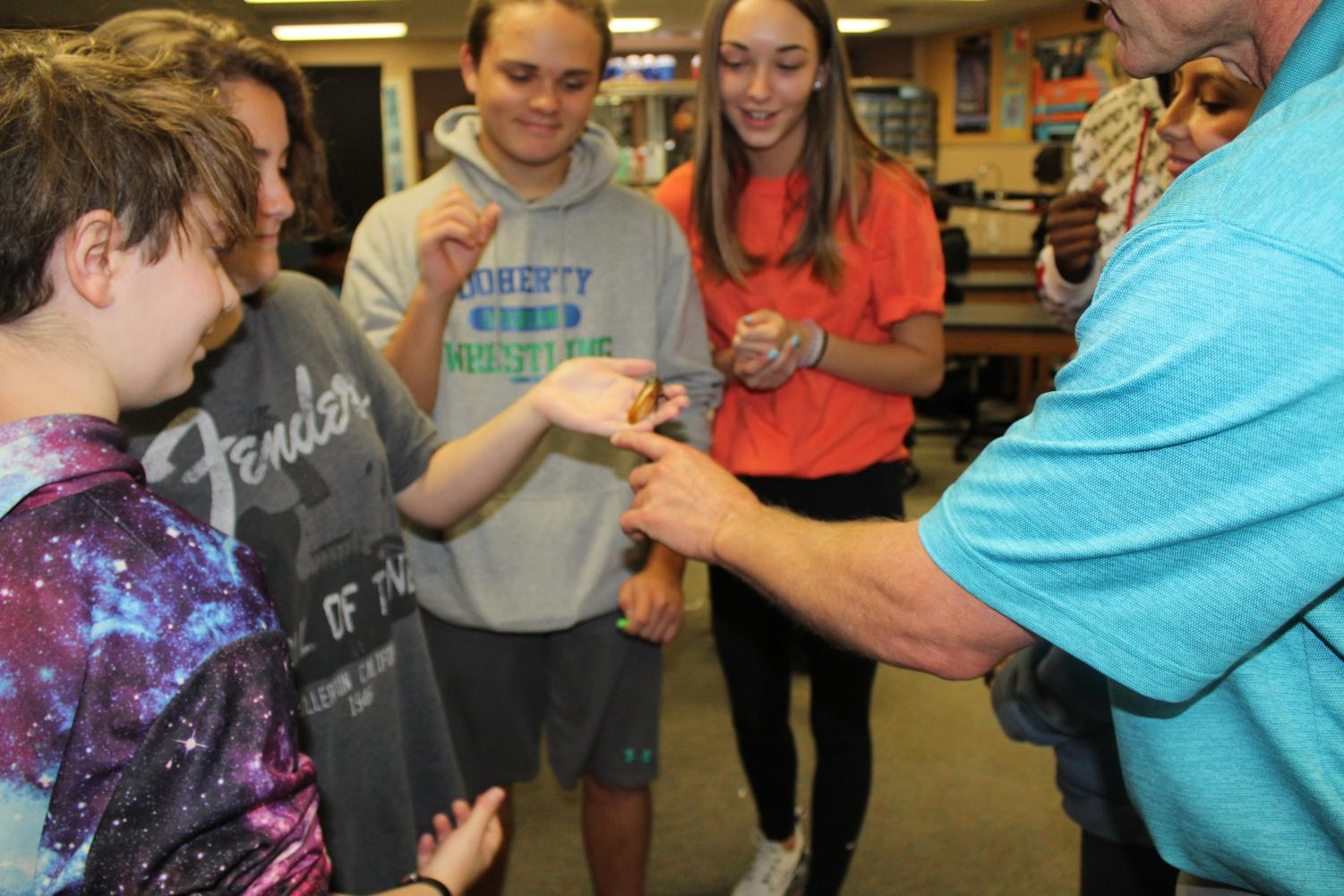 Dr. Hebrink discusses with students about a cockroach in his Pre-AP Biology class.