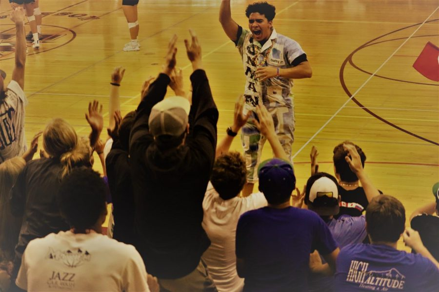 Heading into Spirit Week, Juan Cardona Marino fires up the crowd at the volleyball match on September 12th against Pueblo County.