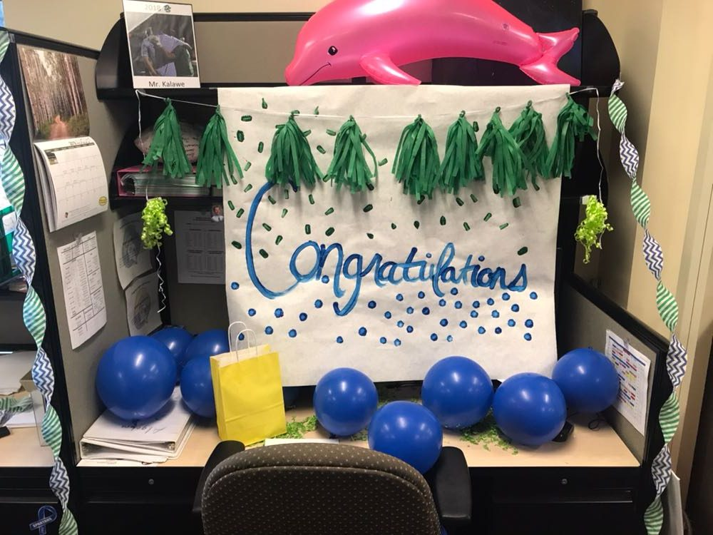 Mr. Kalawe's desk was decorated as part of the surprise!