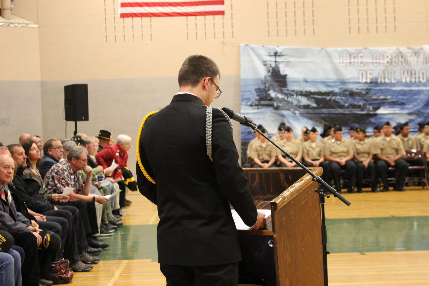 JROTC Cadet Cody Jackson presenting his speech at the assembly.