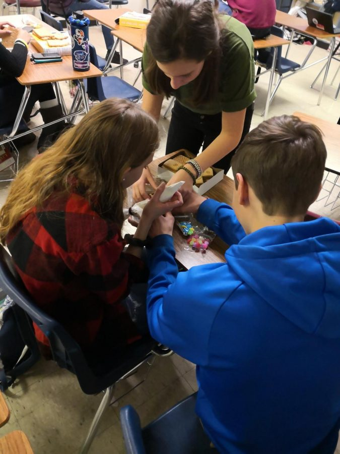 Marynn Krull, Gracie Baker, and Ben Courtright put together a Gingerbread House for the first annual journalism decorating contest.