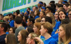The senior student section watching the assembly.