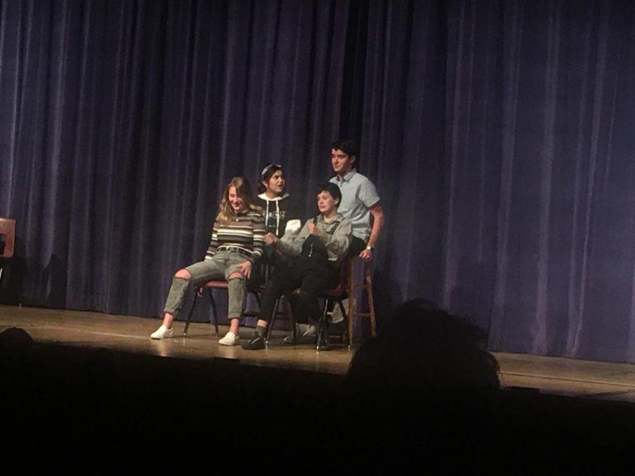 Devon Gonzales, Finn Wolfhard, Laura Fajardo, and Jordan DeBusk in the game