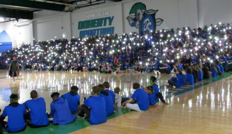 Our gym is such a special place. Remember the first assembly back with our Spartan Strong T-shirts?