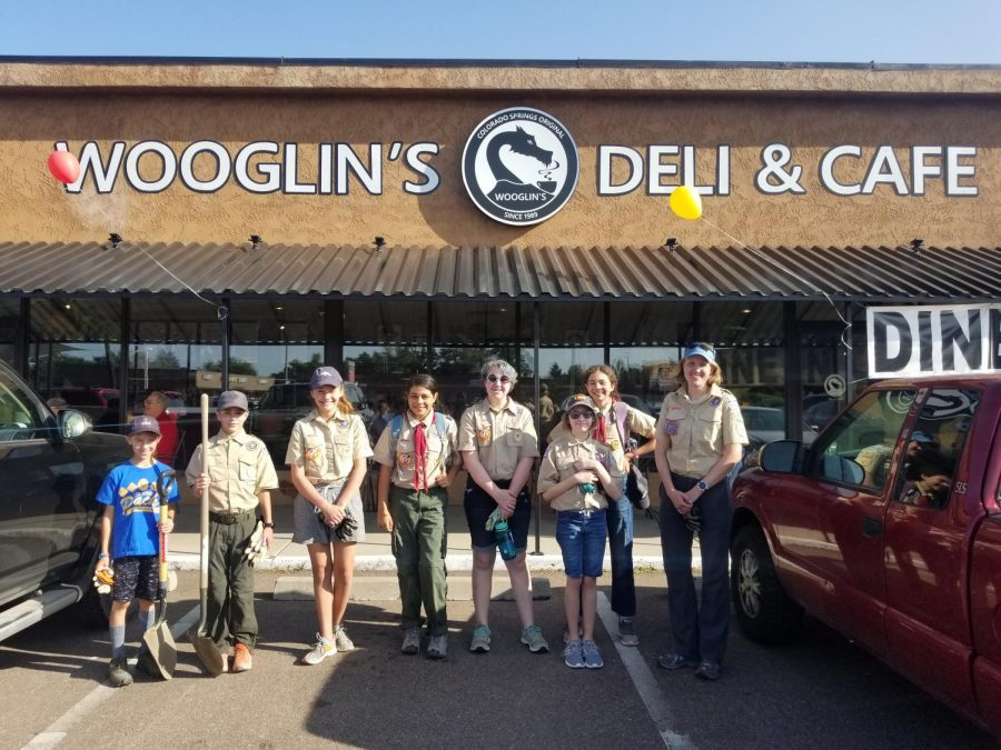 From left to right Scouts Calvin Ericksen, Milo Ericksen, Natalie Muro, Maggie Oliveraz, Birdie McGee, Isabelle Schoeneck and Scoutmaster Sarah Muro before a day of hard work