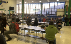 Students whove returned to learning gather in the cafeteria