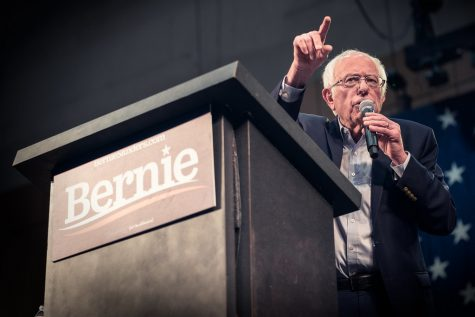Senator Bernie Sanders speaks at a rally in St Paul, Minnesota. Sanders is an advocate of raising minimum wage.