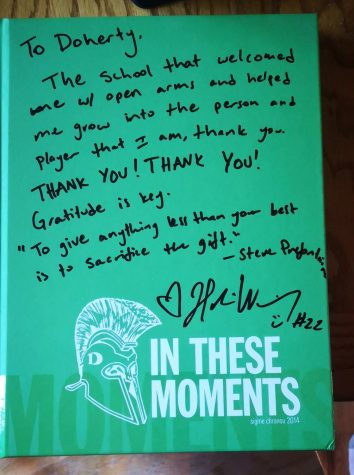 Heres what Haleigh signed for the Doherty community on the yearbook from when she graduated.