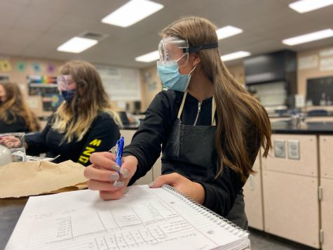 AP Chemistry students complete a lab assignment in masks.