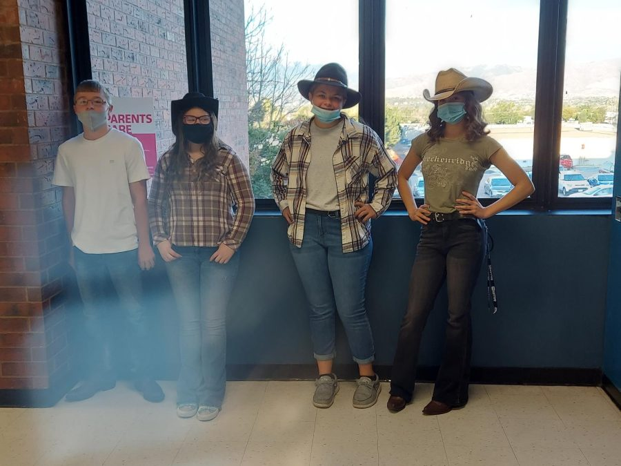Group Of Students Showing The Spirt week of Wild Wild West