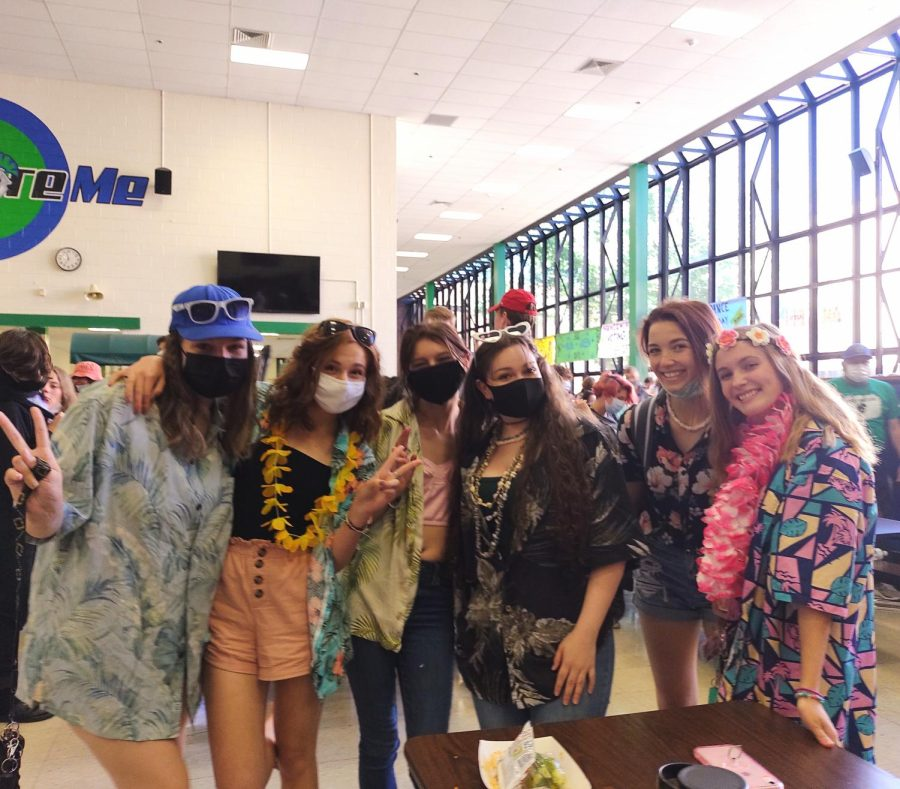 Friend group dressed up for beach day Tuesday